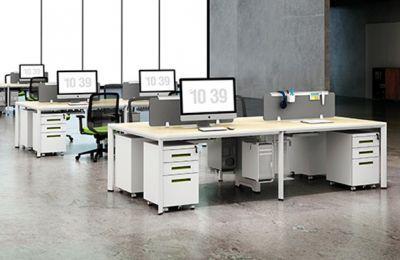 办公隔断-现代办公室办公桌隔断效果图